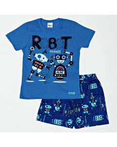 Pijama Infantil de Menino Camiseta Azul e Bermuda Estampada
