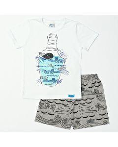 Pijama Infantil Masculino Verão Camiseta Branca e Bermuda Cinza