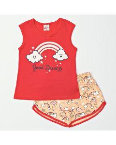 Pijama Feminino Infantil Verão Blusa Laranja e Shorts Estampado