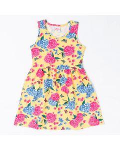 Vestido Infantil Regata Amarelo com Estampa Floral