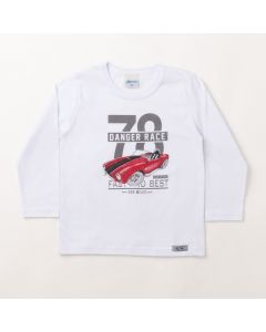 Camiseta Manga Longa Infantil Masculina Branca com Estampa de Carro