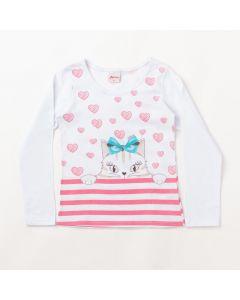 Blusa Feminina Infantil Manga Comprida Branca Estampada