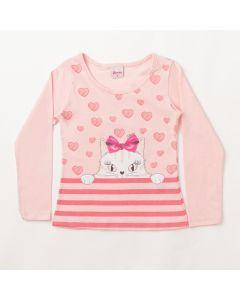 Blusa Feminina Infantil Manga Comprida Rosa Estampada