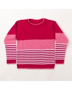 Suéter de Tricô Infantil Feminino Rosa Com Listras