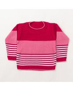 Suéter Infantil Feminino em Tricô Rosa Listrado