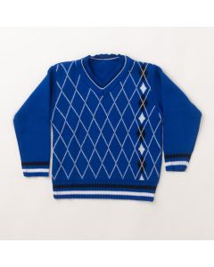 Suéter Infantil Masculino Azul Estampado em Tricô