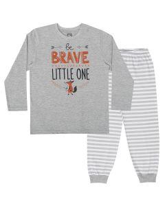 Pijama Longo Boca Grande Camiseta Estampada Mescla e Calça Listrada em Meia Malha Mescla