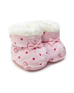 Sapatinho para Bebê Rosa com Estampa de Poá