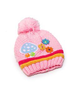 Touca de Bebê em Lã Rosa com Detalhes Coloridos