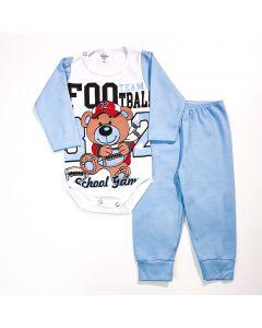 Conjunto de Inverno Bebê Menino Body Branco Manga Longa Ursinho e Calça Azul