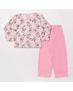Pijama Infantil Feminino de Inverno Calça Rosa com Elástico e Blusa Estampada