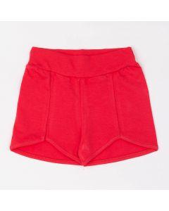 Short Fantoni Básico com Recorte na Frente em Cotton Vermelho