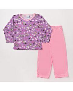 Pijama Infantil Feminino de Inverno Blusa Estampada e Calça Rosa
