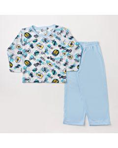 Pijama Infantil Masculino de Inverno Calça Azul e Blusa de Manga Longa Estampada