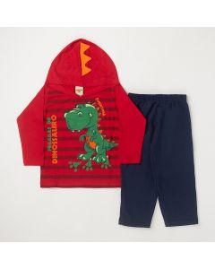 Conjunto Longo Infantil Pimentinha Blusa Dinossauro em Meia Malha Vermelha e Calça em Moletom Marinho