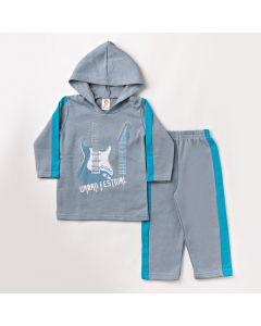 Conjunto de Roupa Infantil Masculino Blusa com Capuz e Calça Cinza