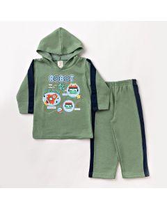 Conjunto de Roupa Infantil Masculino Blusa com Capuz e Calça Verde