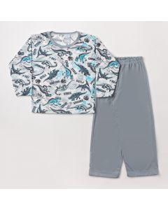 Pijama Infantil Masculino de Inverno Blusa Manga Longa e Calça Cinza