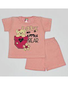 Pijama Curto Viston Kids Blusa Little Bear e Bermuda Básica em Meia Malha Rosa