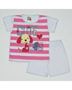 Pijama Curto Viston Kids Blusa Cute Dog Listrada e Bermuda Básica em Meia Malha Branco