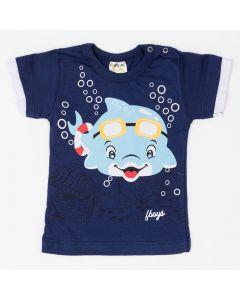 Camiseta Fantoni Estampada em Meia Malha Marinho
