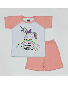 Pijama Curto Viston Kids Blusa Unicórnio Branco e Bermuda Básica em Meia Malha Rosa