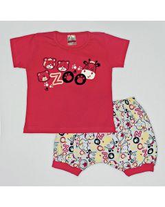 Pijama Curto Viston Kids Blusa Zoo Pink e Bermuda Estampada em Meia Malha Branco