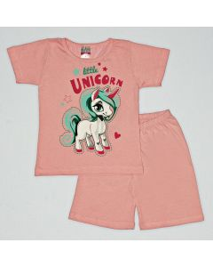 Pijama Curto Viston Kids Blusa Little Unicorn e Bermuda Básica em Meia Malha Rosa