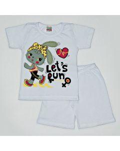 Pijama Curto Viston Kids Blusa Let's Run e Bermuda Básica em Meia Malha Branco