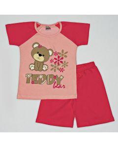 Pijama Curto Viston Kids Blusa Teddy Bear Rosa e Bermuda Básica em Meia Malha Pink
