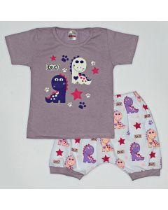 Pijama Curto Viston Kids Blusa Dino Lilás e Bermuda Estampada em Meia Malha Branco