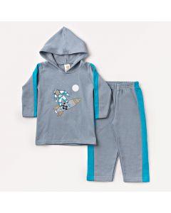 Conjunto de Moletom Infantil com Blusa Comprida e Calça Cinza com Azul