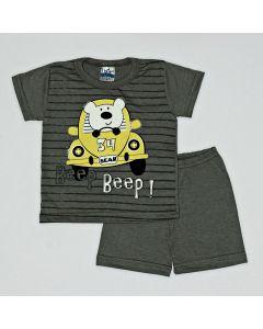 Pijama Curto Viston Kids Camiseta Bear e Bermuda Básica em Meia Malha Chumbo