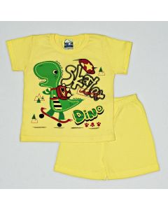 Pijama Curto Viston Kids Camiseta Dino e Bermuda Básica em Meia Malha Amarelo