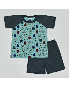 Pijama Curto Viston Kids Camiseta Dogs Verde e Bermuda Básica em Meia Malha Chumbo