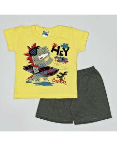 Pijama Curto Viston Kids Camiseta Surf Amarelo e Bermuda Básica em Meia Malha Chumbo