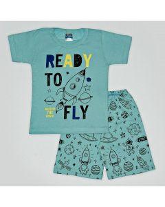 Pijama Curto Viston Kids Camiseta Ready To Fly e Bermuda Estampada em Meia Malha Verde