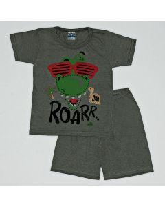 Pijama Curto Viston Kids Camiseta Roar e Bermuda Básica em Meia Malha Chumbo