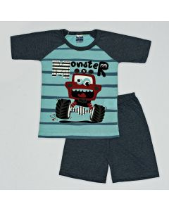 Pijama Curto Viston Kids Camiseta Monster Listrado Verde e Bermuda Básica em Meia Malha Chumbo