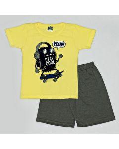Pijama Curto Viston Kids Camiseta Stay Cool Amarelo e Bermuda Básica em Meia Malha Chumbo
