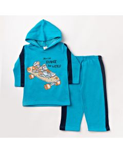 Conjunto de Moletom Infantil com Blusa de Manga Longa e Calça Azul