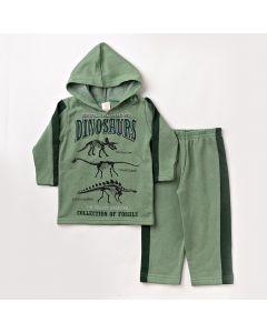 Conjunto Infantil de Inverno Blusa com Capuz e Calça Verde em Moletom