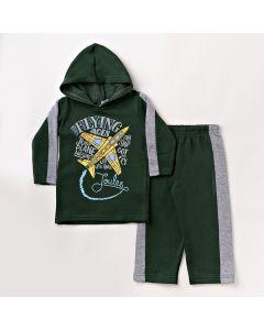 Conjunto de Roupa Infantil Verde Escuro com Blusa de Capuz e Calça