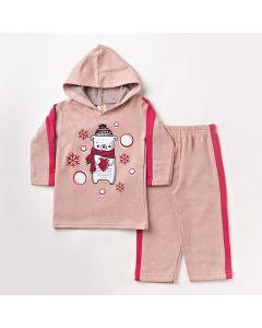 Conjunto de Roupa Infantil Feminino com Blusa com Capuz e Calça Rosa