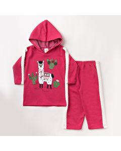 Conjunto de Inverno Feminino com Calça e Blusa com Capuz Rosa Pink