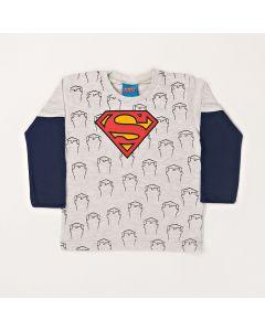 Camiseta Infantil Kamylus Super Homem em Meia Malha Mescla