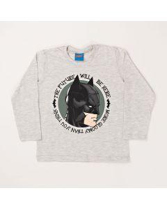 Camiseta Infantil Kamylus Batman em Meia Malha Mescla