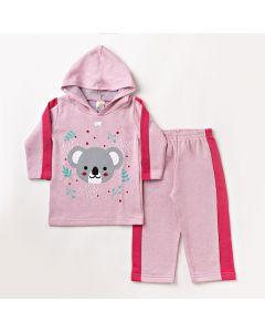 Conjunto de Roupa de Frio para Menina Calça e Blusa com Capuz Rosa Claro