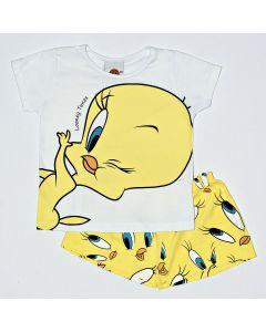Pijama Curto Kamylus Blusa Piu Piu Branco e Shorts Meia Malha Amarelo