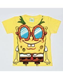 Camiseta Kamylus Bob Esponja em Meia Malha Amarelo